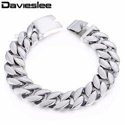 Davieslee Mens Bracelet Curb Cuban Link Bracelet 316L Stainless Steel Fashion Jewelry Silver Tone 18mm LHB471