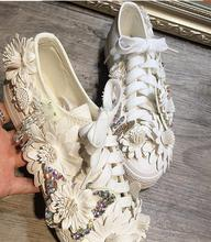 LoneLinecc Hot Sweet White  Canvas Flats Crystal Shallow Women's Shoes Casual Riband Flower Butterfly-knot Flats Shoes