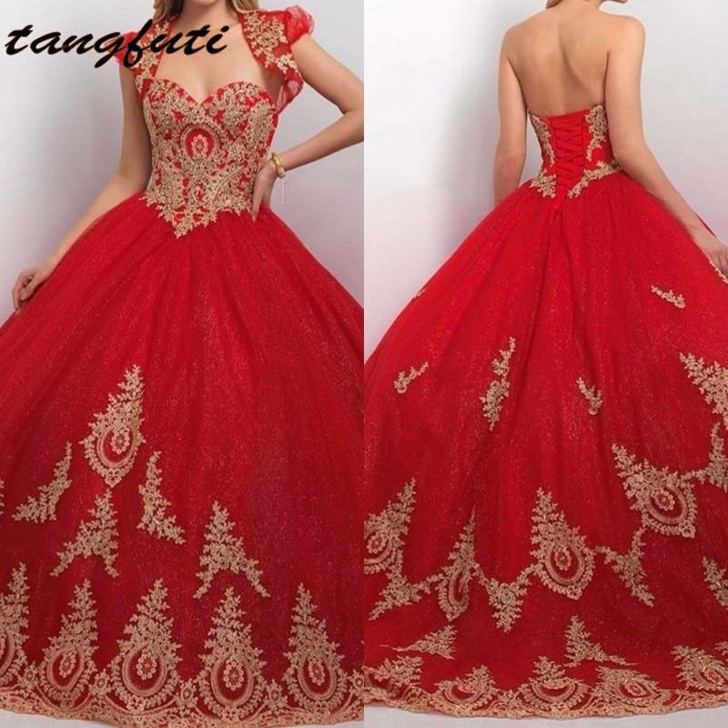 Rouge Princesse Robe De Bal Quinceanera Robes Avec Veste 15 Ans Tulle Dentelle Appliques De Bal Partie Débutante Doux 16 Robe