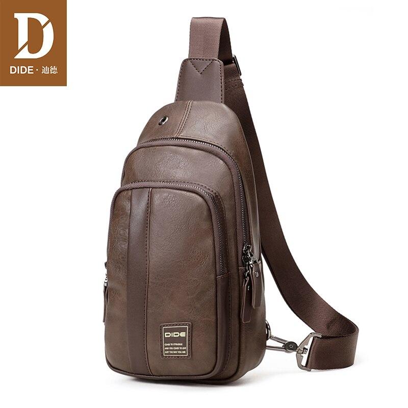DIDE Fashion Vintage Shoulder Bags men handbags male bag designer PU Leather chest bag Men s