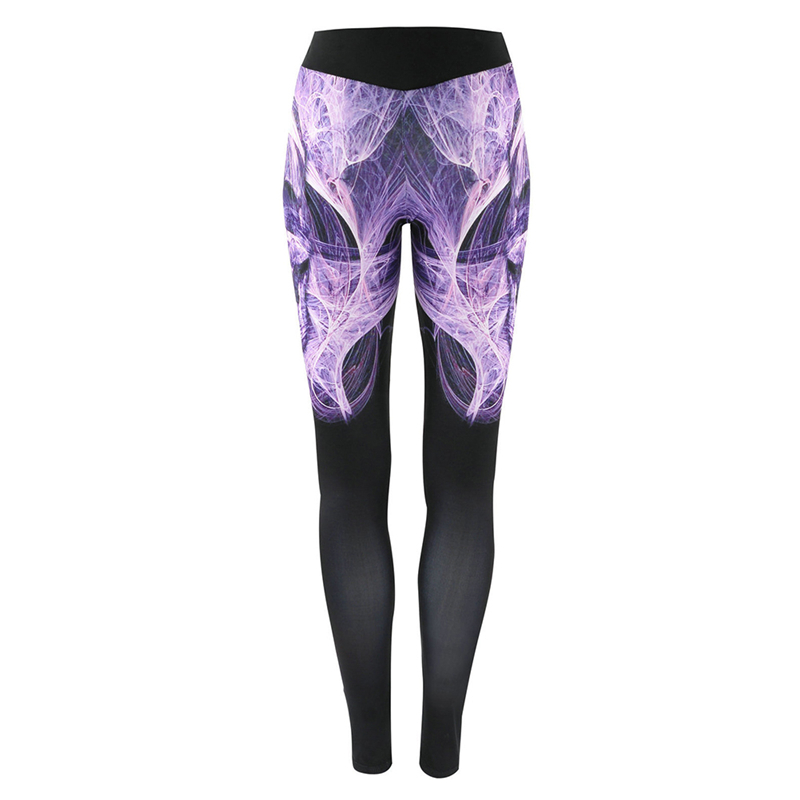 Wholesale Hot new 2018 Pants High Waist Floral Printed Leggings Purple Blue Ombre Womens Tracksuit Fitness Pants