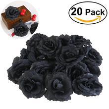 Yeni düğün dekorasyon 20 adet siyah gül ipek çiçek düğün DIY parti ev ofis mağaza bahçe düğün çiçek dekorasyonu