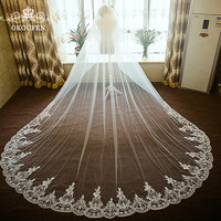 Sparkling Sequined 3D Floral Appliques Wedding Veils 3M Long Cathedral Train White Tulle Women Hair Accessories Bridal Gowns