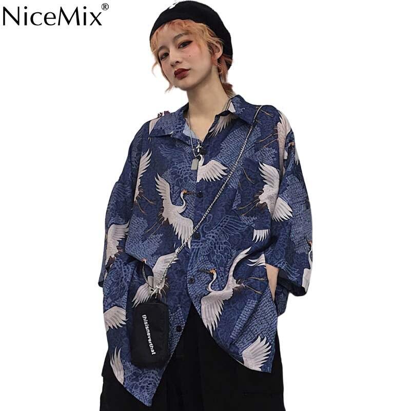 NiceMix 2019 New Blouse Women Beach Tops Casual Three Quarter Sleeves Shirts Print Camisa Feminina Loose Blouse Crane Print in Blouses amp Shirts from Women 39 s Clothing