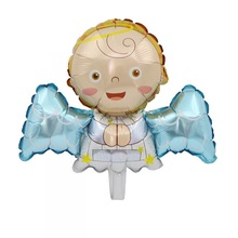 hot deal buy 4pcs mini baby angel boy foil ballons infant angel balloons globos for new born baby 1st birthday party decorations (