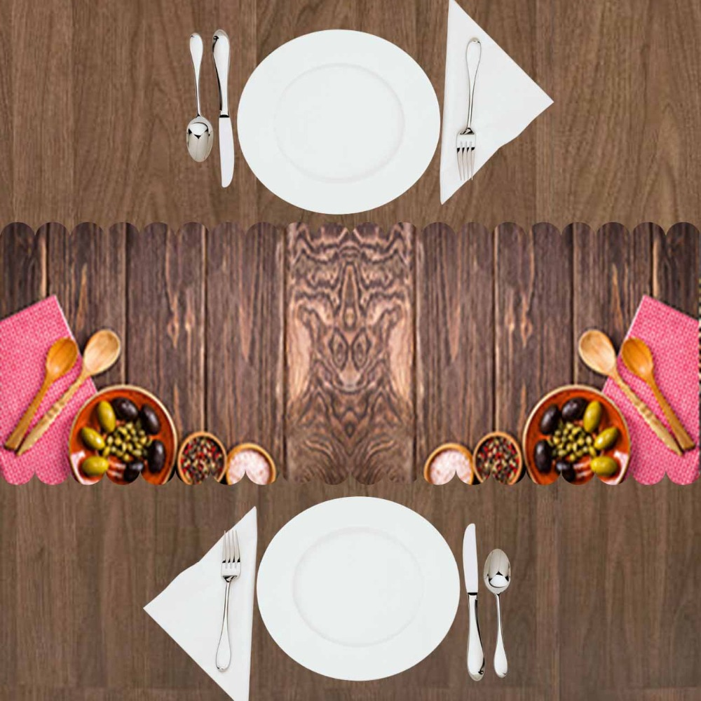 Else Brown Wooden Wood Spoon Breakfast Green Black Olive 3d Print Pattern Modern Table Runner For Kitchen Dining Room Tablecloth