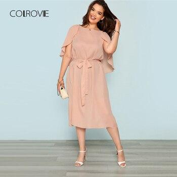 c55e8e4a9 COLROVIE Plus tamaño Rosa sólido capa manga larga con cinturón vestido  largo mujer otoño 2018 elegante vestido de fiesta de playa Vintage vestidos  de verano