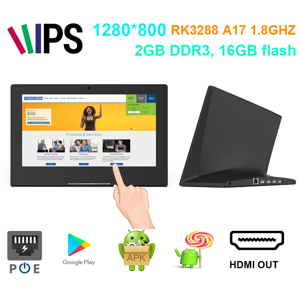 10 calowy ekran komercyjny android POE tablet pc (1980*1080, Rockchip3288, 2GB DDR3, 16GB flash, USB, wyjście hdmi, wifi, RJ45)