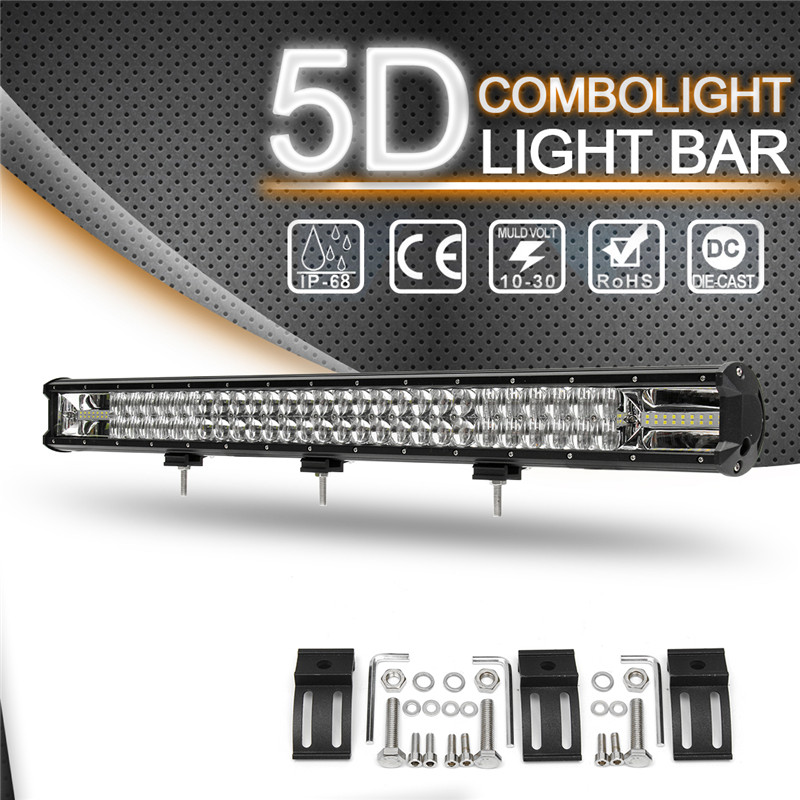 5D 32 Inch 810W Car LED Work Light Bar Flood Spot Combo Driving Lamp 6000K Waterproof LED Light Bar SUV ATV Truck Offroad Boat hello eovo 5d 32 inch curved led bar led light bar for driving offroad boat car tractor truck 4x4 suv atv with switch wiring kit