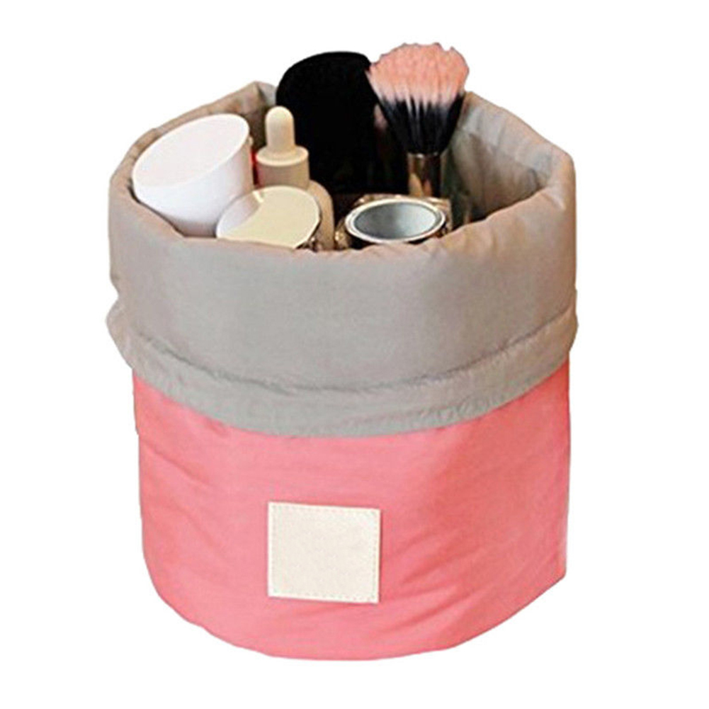 Makeup Bag Barrel Shaped Cosmetic Storage Case Travel Toiletry Organizer Pouch