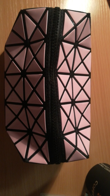 new fashion women Cosmetic bag cases Geometric folding make up bag quality PVC organizer makeup case beauty bags photo review