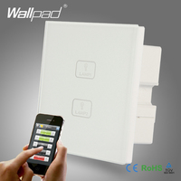 Waterproof WIFI Wallpad White Tempered Glass Android IOS Phone 2 Gang 2 Way WIFI Remote Touch