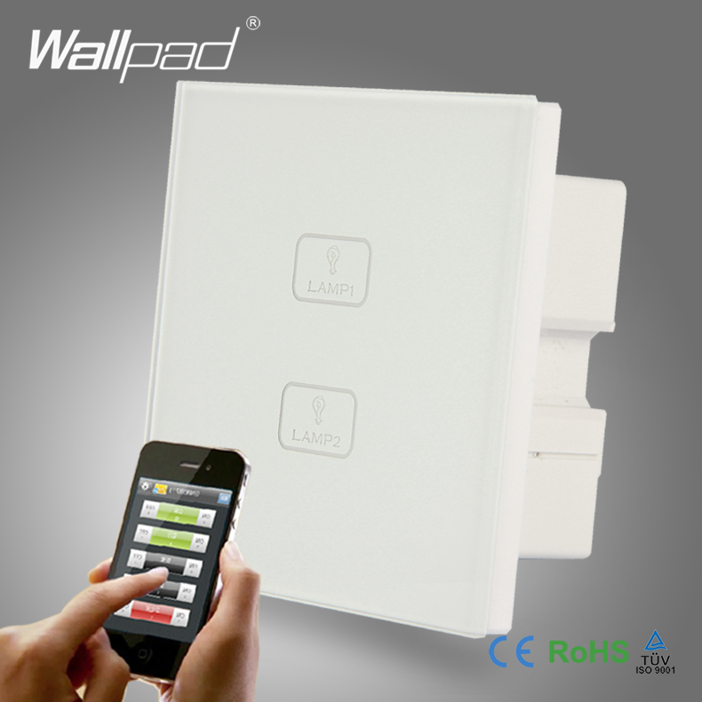 Waterproof WIFI Wallpad White Tempered Glass Android/<font><b>IOS</b></font> <font><b>Phone</b></font> 2 Gang Wireless WIFI Remote Touch Controlled Light Wall Switch