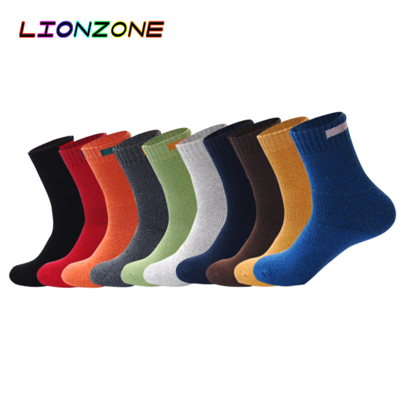 LIONZONE Solid Cashmere Merino Wool   Socks   With Cloth Sign Design 10 Colors Winter Warm Thermal   Socks