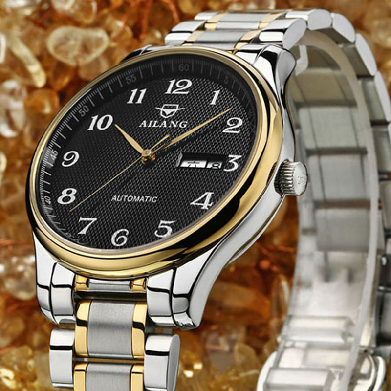 AILANG top brand watches Mens luxury table full automatic digital mechanical steel men's classic watch men of high quality free shipping hot fashion men top brand binger watches automatic mechanical male table luxury gold watch steel