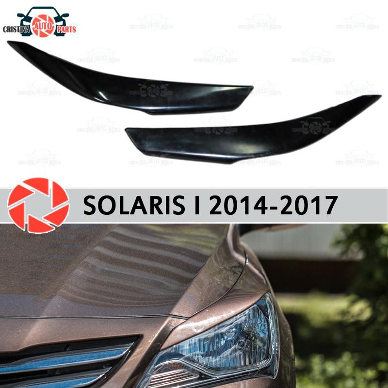Eyebrows for Hyundai Solaris 2014-2017 for headlights cilia eyelash plastic ABS moldings decoration trim covers car styling