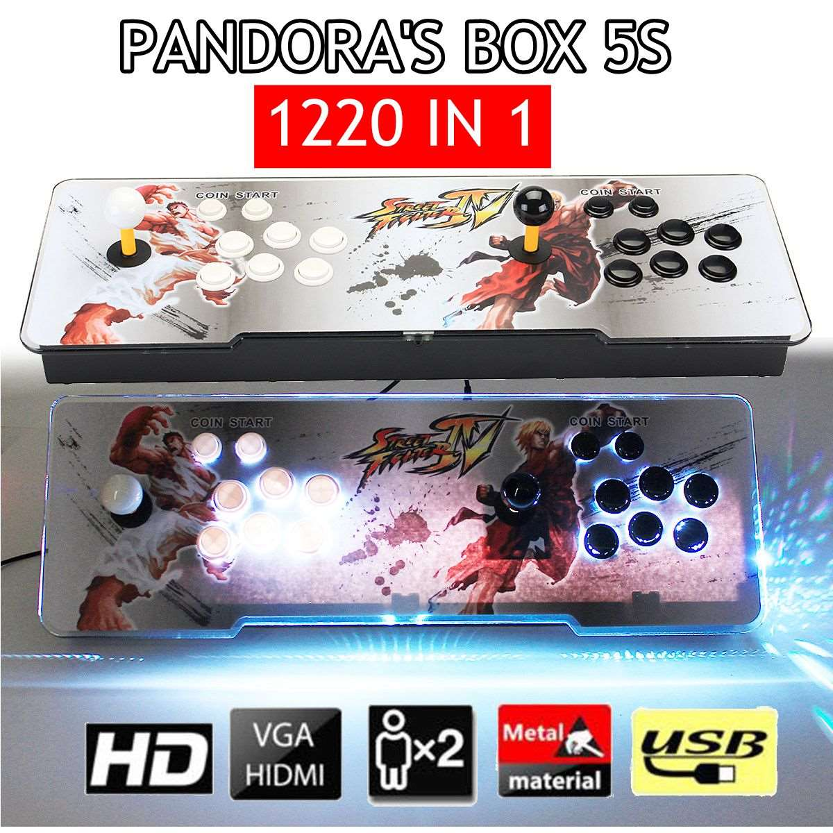 1220 in 1 Pandora's Box 5s Retro Video Games Double Stick Arcade Console Light PC LCD Machine VGA, HDMI, USB, AUX games lile aux prepositions