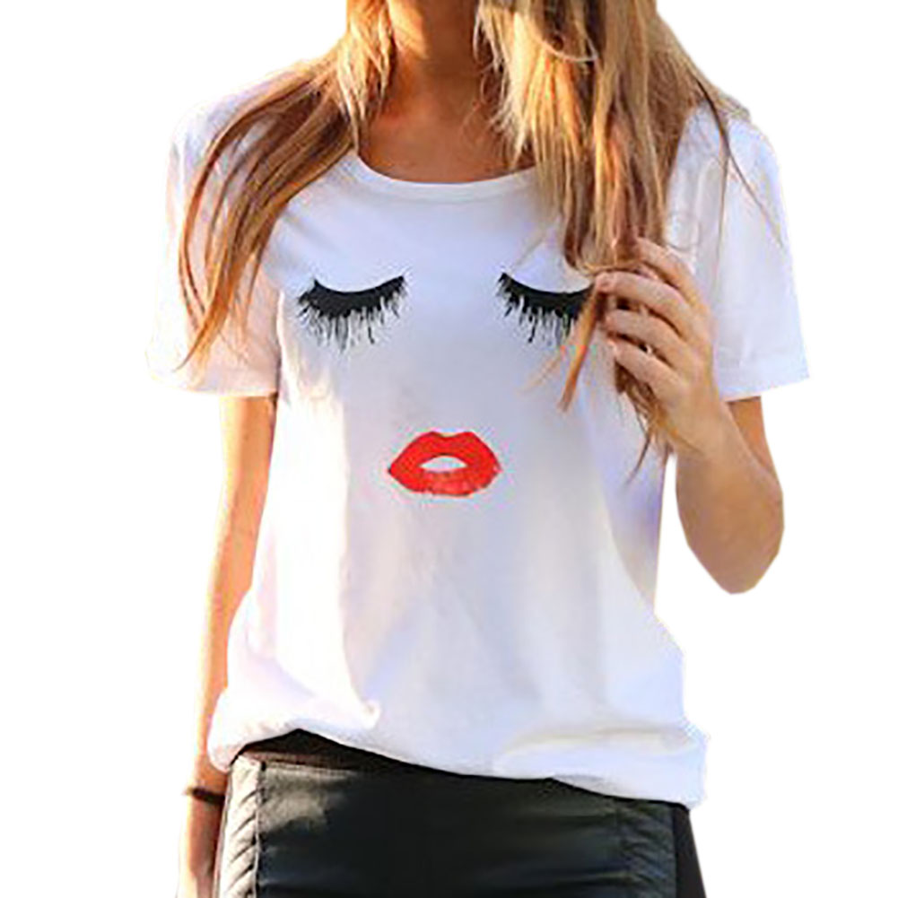2017 New Eyelash Lips Pattern Female Models Sexy Short-sleeved Womens T-shirts Eyelash Lips Pattern Printing Tee