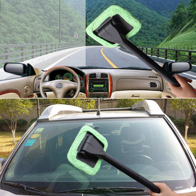 2018 New 1pc Microfiber Auto Window Cleaner Long Handle Car Washable Car Brush Window Windshield Wiper Cleaner Car Cleaning Tool