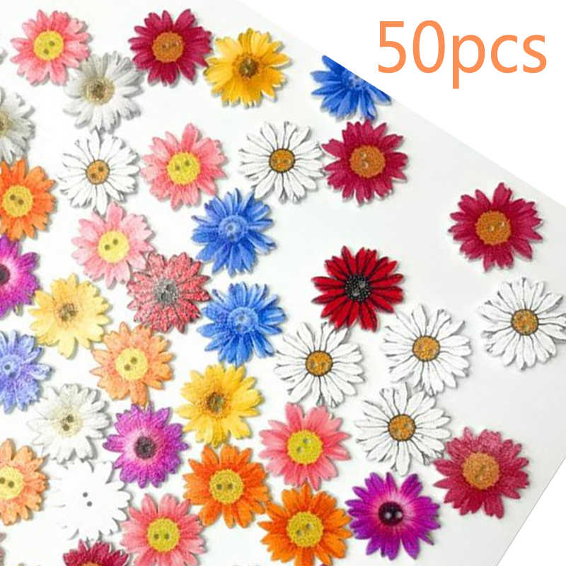 50pcs Wooden Chrysanthemums Sewing Buttons DIY Scrapbooking Clothes Decor Handwork Sewing Scrapbook Clothing Crafts Accessories