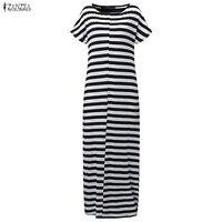 Plus Size ZANZEA Women Summer Patchwork Stripe O Neck Short Sleeve Maxi Long Dress Casual Party