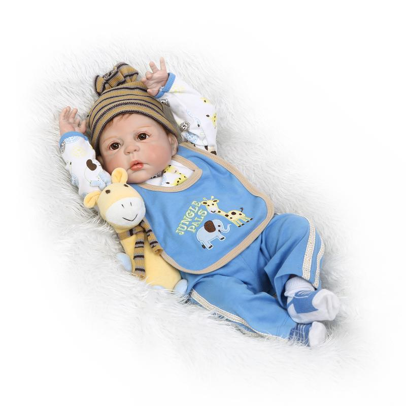 NPKDOLL 57cm Silicone Reborn Baby Doll kids Playmate Gift For Girls 22 Inch boneca reborn men Toys For Bouquets Doll Bebe Reborn