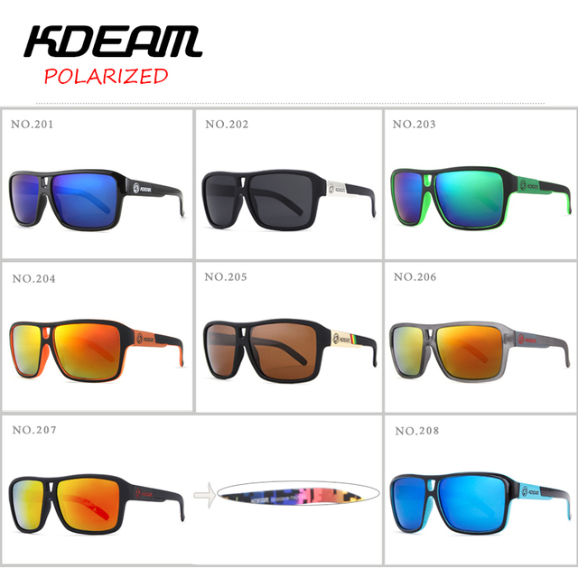 KDEAM New Mirror Sunglasses Men Sports Eyewear Women Polarized Big Size Sun Glasses UV400 Protection With Hard Case KD520