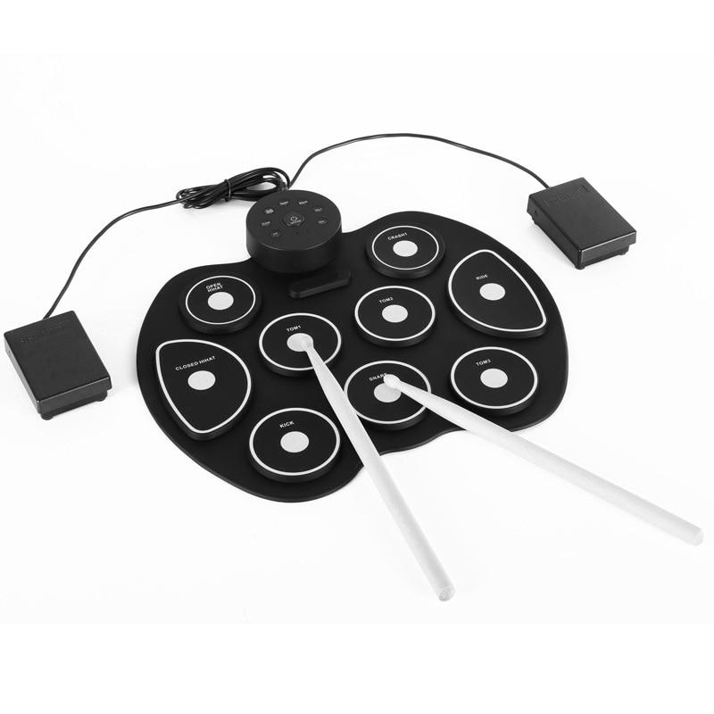 Eva2king Silicone drôle électronique Portable tambours numériques pratique Instrument de musique avec des baguettes musique jouets pour enfants