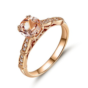 Peacock Star Vintage Style 14K Rose Gold Engagement Ring 1.2 Ct Peach Morganite Natural Diamonds