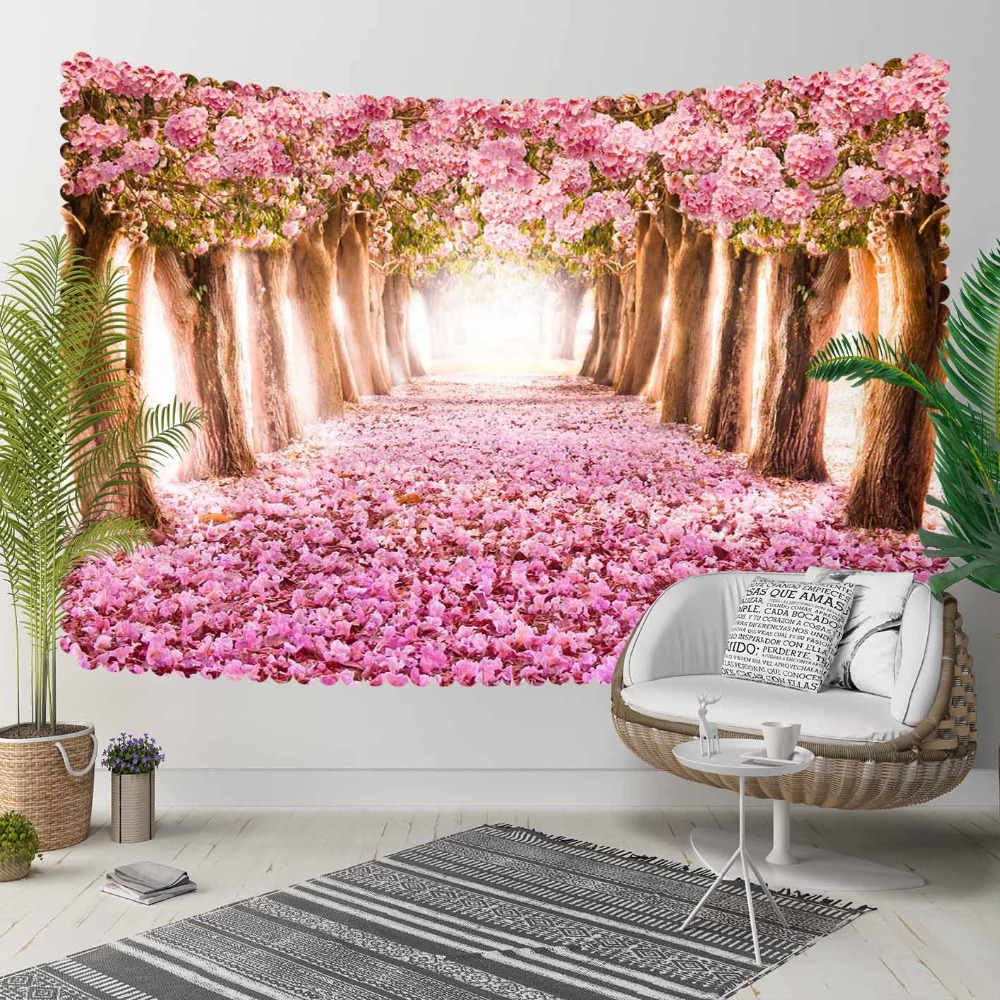 Else Spring Pink Trees Flowers Leaves Love Way Road 3D Print Decorative Hippi Bohemian Wall Hanging Landscape Tapestry Wall Art