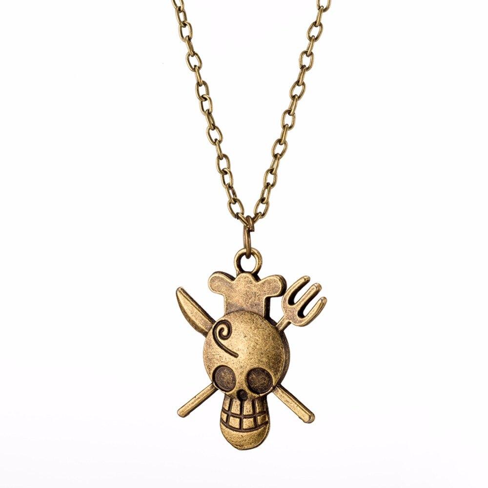 Пират лодка дизайн череп покрытие античная бронза тонкой цепочке ожерелье