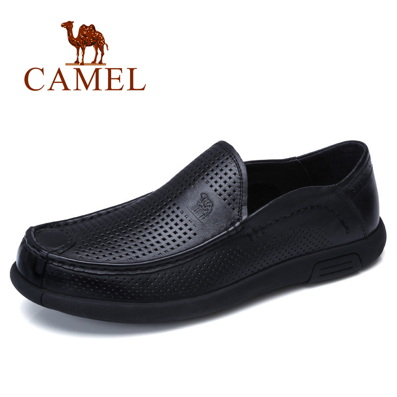CAMEL Breathable Holes Men Shoes Moccasins Soft Bendable Genuine Cow Leather Male Business Loafers Flats Driving Footwear Man