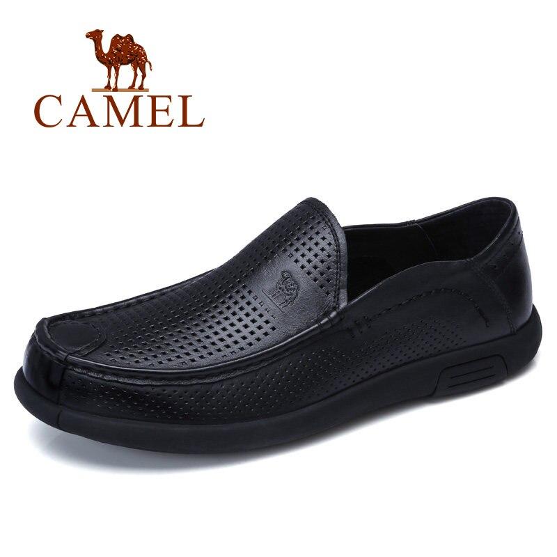 CAMEL respirable agujeros hombres zapatos mocasines suave Flexible cuero de vaca genuino hombre negocios mocasines planos calzado de conducción hombre-in Zapatos informales de hombre from zapatos    1