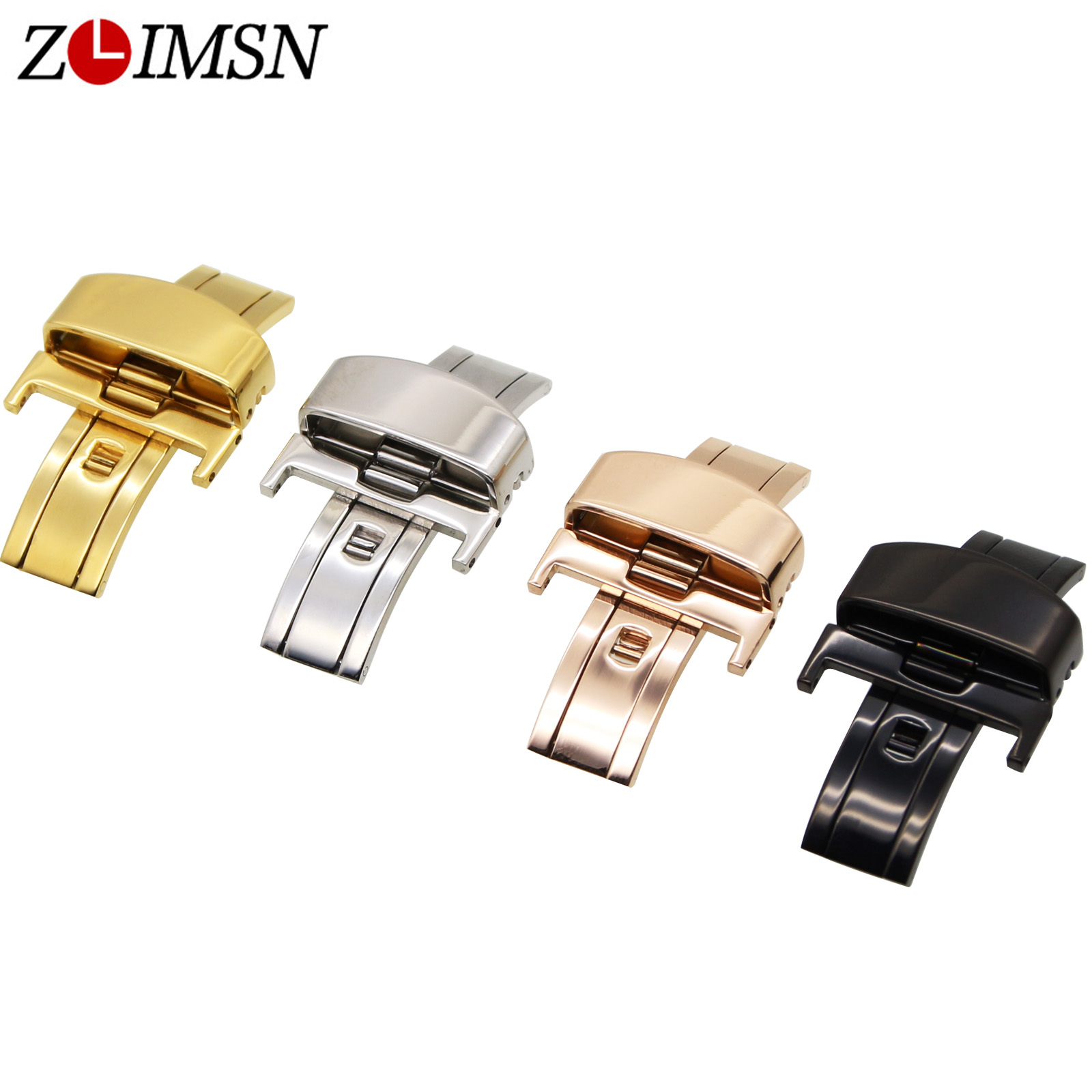 ZLIMSN 12 14 16 18 20 22mm50pcs Stainless Steel Butterfly Buckle Watchband Clasp Black Gold Silver Replacement Relogio Masculino zlimsn silver bracelet solid stainless steel watchband 18 20 22 24mm luxury military metal band replacement relogio feminino s15