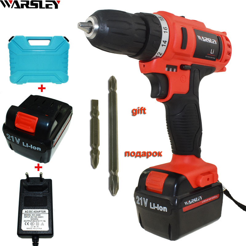 21V Cordless Drill Power Tools Electric Drill Electric 2 Batteries Screwdriver Mini Drill Electric Drilling Electric Screwdriver free shipping brand proskit upt 32007d frequency modulated electric screwdriver 2 electric screwdriver bit 900 1300rpm tools