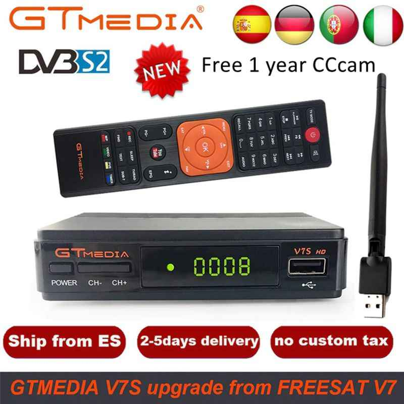 GTMedia V7S HD спутниковый ресивер DVB-S2 V7S HD Full 1080P + USB wifi + 1 год Cline CCCAM Upgrade Freesat V7 Receptor Sat tv Box