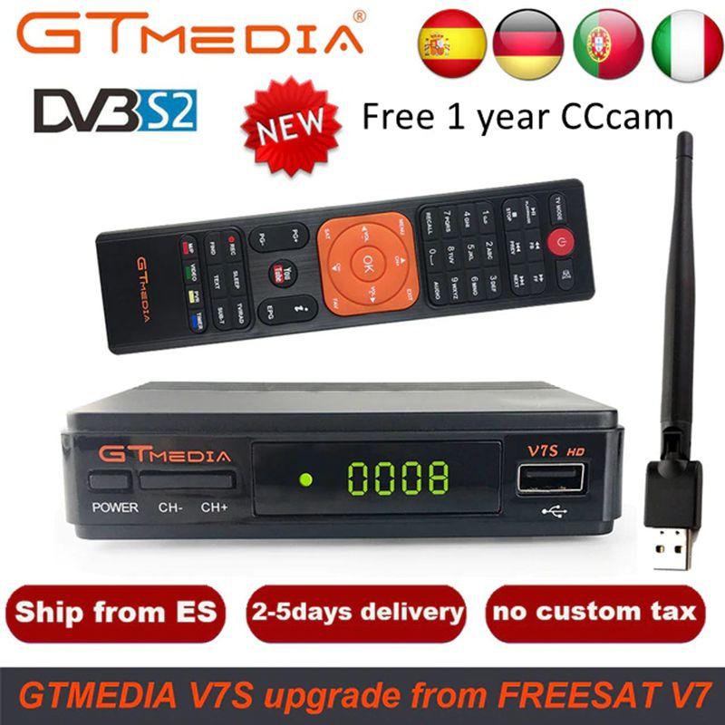 GTMedia V7S HD Satellite Receiver DVB-S2 V7S HD Full 1080P+USB WIFI + 1 Year Cline CCCAM Upgrade Freesat V7 Receptor Sat TV Box