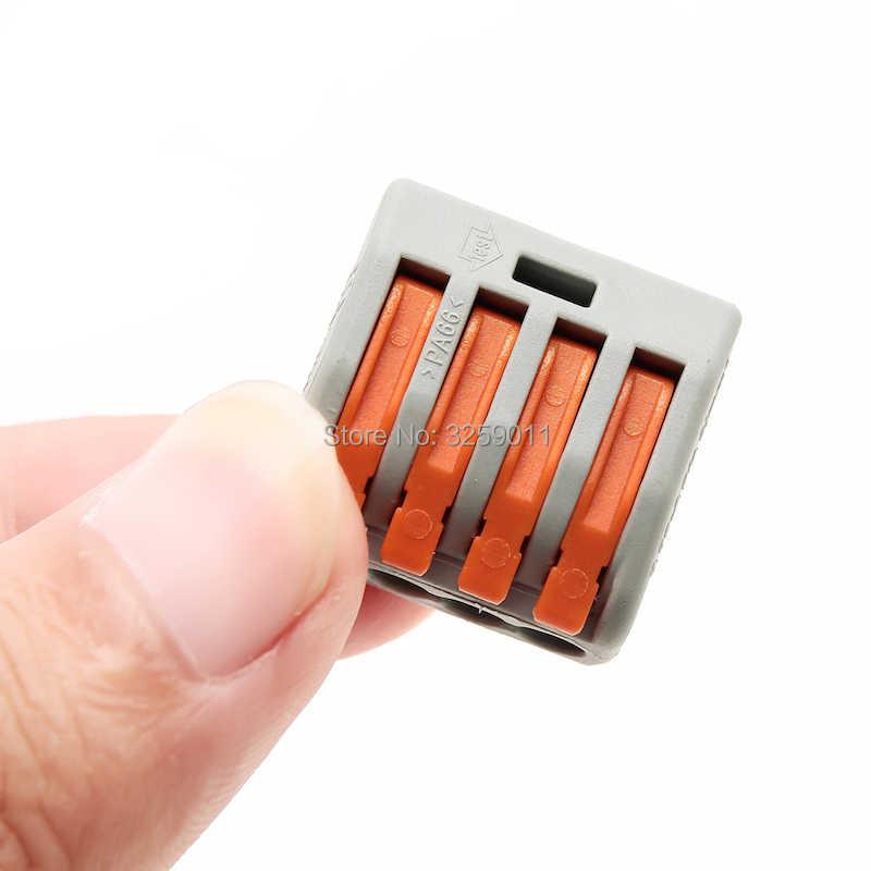 1ชิ้นกดลวดเชื่อมต่อก้านขั้วPCT-214 222-414 4ขาสากลขนาดกะทัดรัดขั้วเชื่อมต่อสีเทา28-12 AWG