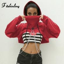 Fitshinling שרשרות קצוץ הסווטשרט סתיו harajuku streetwear כותנה נשים נים חולצות יבול למעלה סדיר אדום hoody 2018