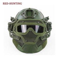 Army Green High Quality Tactical Fast Helmet PJ Type with Protective Goggle and Mesh Face Mask for Airsoft Paintball