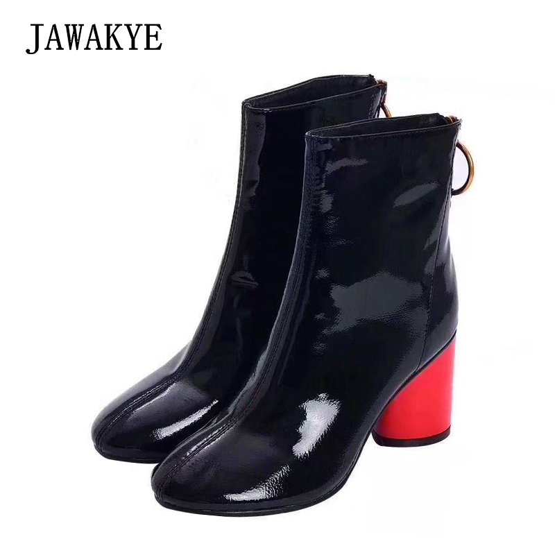 Spring winter Women Boots brand High Heels Shoes for Female Crumpled patent leather Round toe Botas Mujer Red heels ankle boots цена
