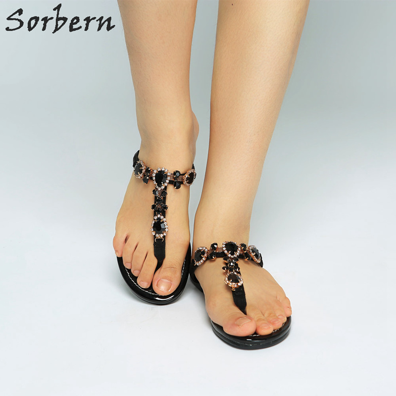 Sorbern noir strass tongs sandales femmes chaussures d'été talons plats mode chaussures femme 2018 Staylish chaussures pour femmes