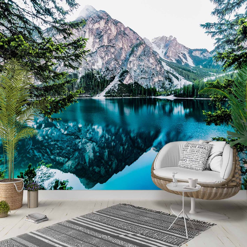 Else Blue Lake White Snow Mountains Nature 3d Photo Cleanable Fabric Mural Home Decor Living Room Bedroom Background Wallpaper