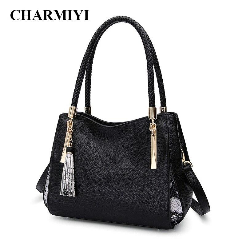 CHARMIYI dames véritable sacs à main en cuir femmes messenger sacs femme grande capacité noir bandoulière sac bolsa feminina Fourre-Tout