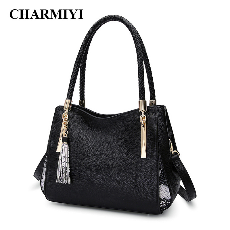 CHARMIYI ladies genuine leather handbags women messenger bags female large capacity black crossbody bag bolsa feminina Tote charmiyi 2018 women handbags cowhide leather messenger bags luxury brand lady tote casual crossbody travel bag bolsa feminina