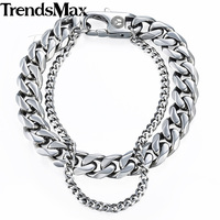 Trendsmax Curb Cuban Box Wheat Link Mens Bracelet Chain Stainless Steel Double Layer Gold Silver Tone