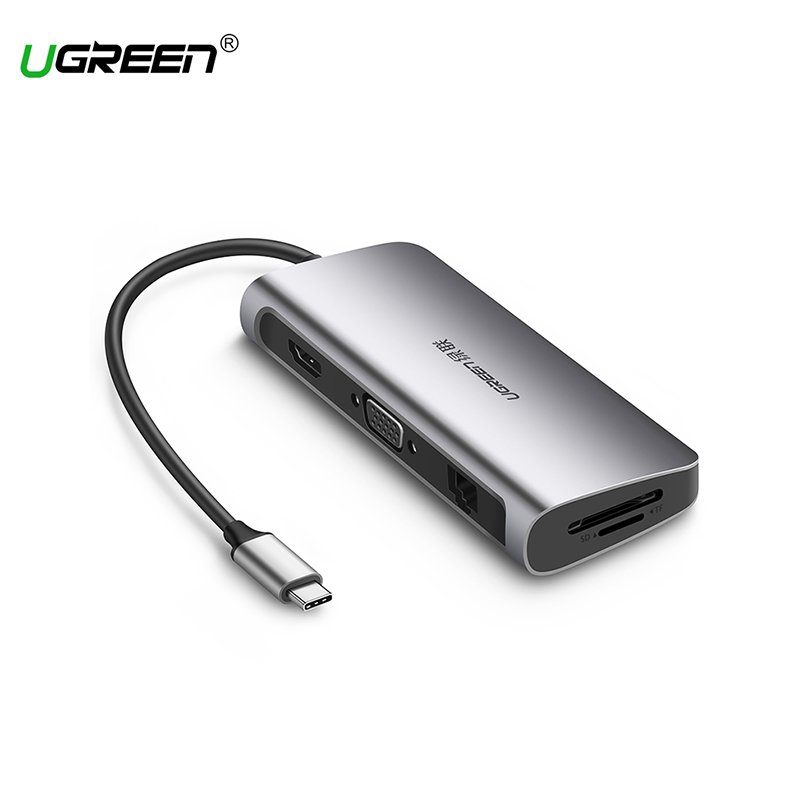 Ugreen USB-C Multifunction Adapter for MacBook Samsung Galaxy S9/Note 9 Huawei P20 Pro Type C USB 3.0 HUB Model 40873 orico type c otg adapter to usb2 0 data cable for macbook extended u disk mouse white ct2