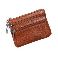 Genuine Leather Keys Coin Organizer Zipper Bag Pouch Women Wallet