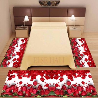 Else 3 Piece White Red Roses Leaves Flowers Floral 3d Print Non Slip Microfiber Washable Decor Bedroom Area Rug Carpet Set