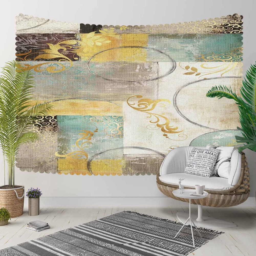 Else Green Gray Yellow Patchwork Nordec Floral  3D Print Decorative Hippi Bohemian Wall Hanging Landscape Tapestry Wall Art